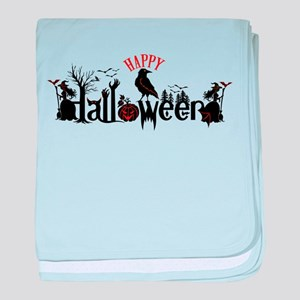 Happy halloween Black & orange Spooky baby blanket