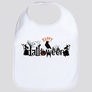 Happy halloween Black & orange Spooky Typograp Bib