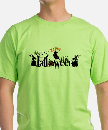 Happy halloween Black & orange Spooky Typo T-Shirt