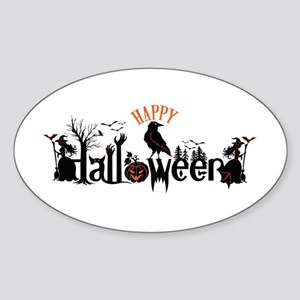 Happy halloween Black & orange Spooky Typo Sticker