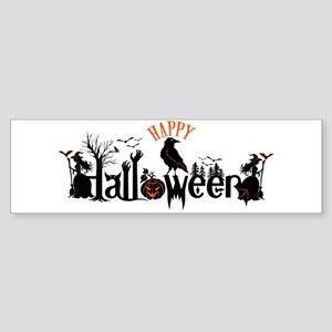 Happy halloween Black & orange Spoo Bumper Sticker