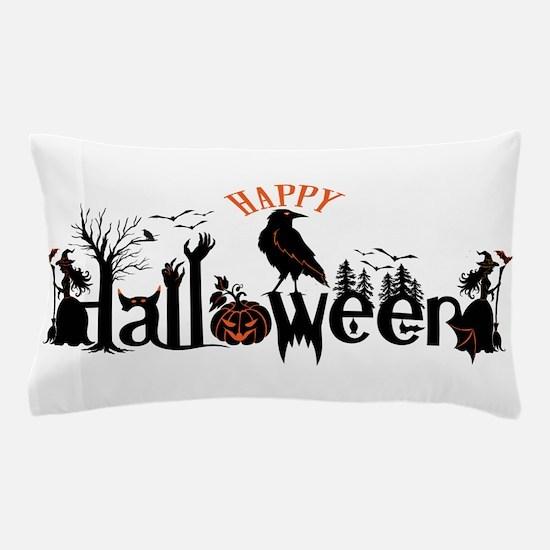 Happy halloween Black & orange Spooky Pillow Case