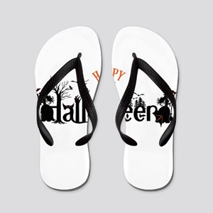 Happy halloween Black & orange Spooky T Flip Flops