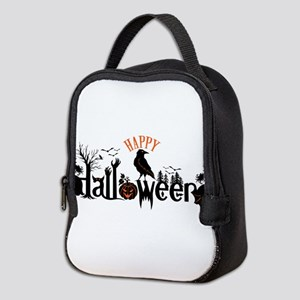Happy halloween Black & orange Neoprene Lunch Bag