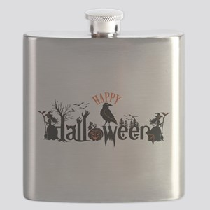 Happy halloween Black & orange Spooky Typogr Flask