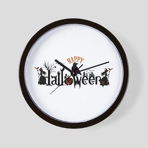 Happy halloween Black & orange Spooky T Wall Clock