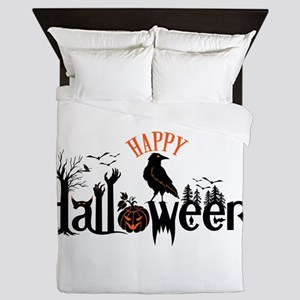 Happy halloween Black & orange Spooky Queen Duvet
