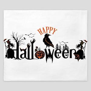 Happy halloween Black & orange Spooky T King Duvet