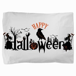 Happy halloween Black & orange Spooky Pillow Sham