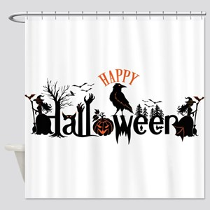 Happy halloween Black & orange Spoo Shower Curtain