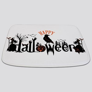 Happy halloween Black & orange Spooky Typo Bathmat
