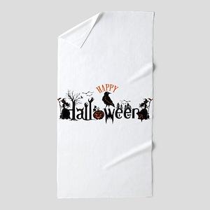 Happy halloween Black & orange Spooky Beach Towel