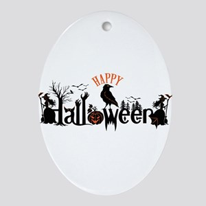 Happy halloween Black & orange Spook Oval Ornament