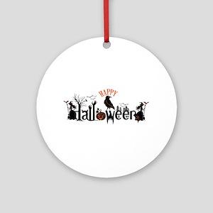 Happy halloween Black & orange Spoo Round Ornament
