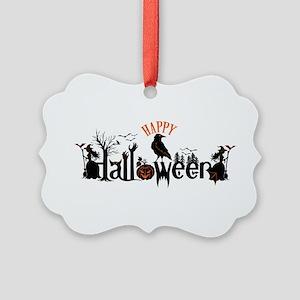 Happy halloween Black & orange Sp Picture Ornament