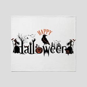 Happy halloween Black & orange Spook Throw Blanket