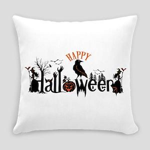 Happy halloween Black & orange Spo Everyday Pillow