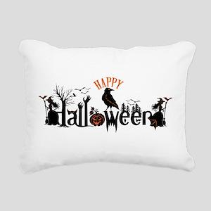 Happy halloween Black & Rectangular Canvas Pillow