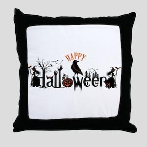 Happy halloween Black & orange Spooky Throw Pillow