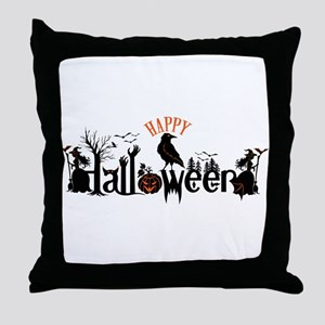 Happy halloween Black & orange Spooky Throw Pillow