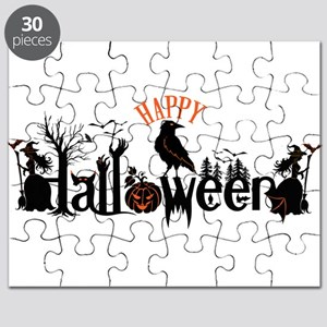 Happy halloween Black & orange Spooky Typog Puzzle