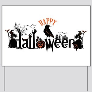 Happy halloween Black & orange Spooky Ty Yard Sign