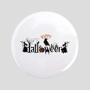 Happy halloween Black & orange Spooky Typog Button