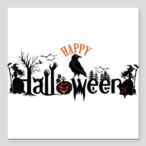 "Happy halloween Black & Square Car Magnet 3"" x 3"""