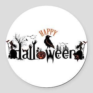 Happy halloween Black & orange Sp Round Car Magnet