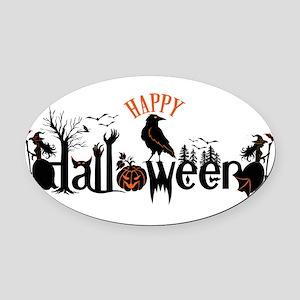 Happy halloween Black & orange Spo Oval Car Magnet