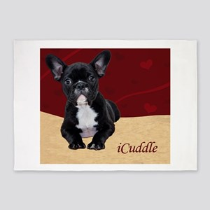 Adorable iCuddle French Bulldog Pup 5'x7'Area Rug