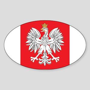square polish eagle Oval Sticker
