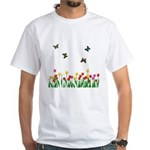 Tulip Flowers and Butterflies White T-Shirt