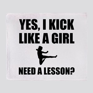 Like A Girl Martial Arts Throw Blanket