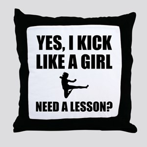 Like A Girl Martial Arts Throw Pillow
