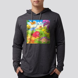 Cute Dinosaurs Mens Hooded Shirt