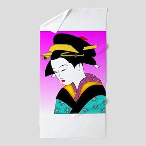 Geisha_Japan Beach Towel