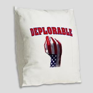 DEPLORABLE Burlap Throw Pillow