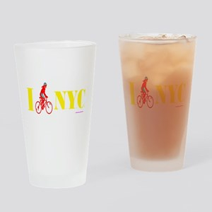 I Bike NYC RED transp Drinking Glass