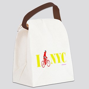 I Bike NYC RED transp Canvas Lunch Bag