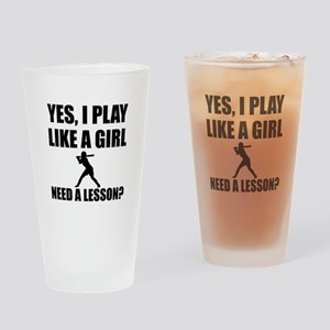 Like A Girl Softball Drinking Glass