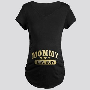 Mommy Est. 2017 Maternity Dark T-Shirt