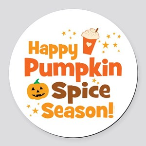 Happy Pumpkin Spice Season Round Car Magnet