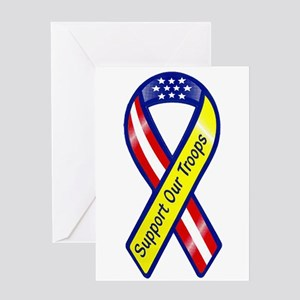 Support Our Troops Ribbon Greeting Card