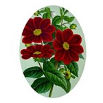 Vintage Flower Print Oval Ornament