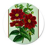 Vintage Flower Print Round Car Magnet