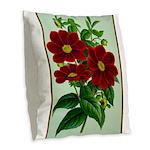 Vintage Flower Print Burlap Throw Pillow