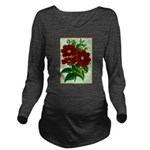 Vintage Flower Print Long Sleeve Maternity T-Shirt