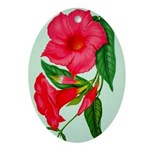 Red Morning Glorys Oval Ornament