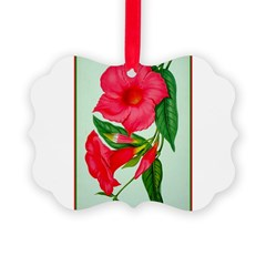 Red Morning Glorys Picture Ornament